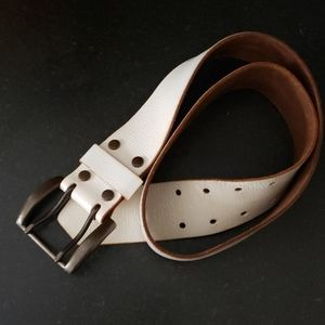 Gap Genuine leather white retro hippie/boho belt
